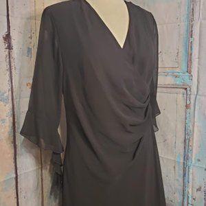 VINTAGE Connected Black Faux Wrap Dress